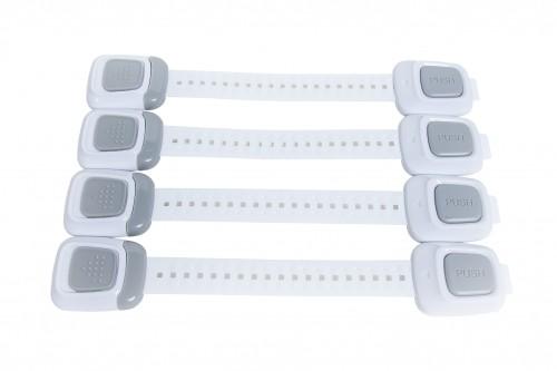SET 4 sigurante flexibile cu incuietoare dubla pentru usi si sertare, 25 cm